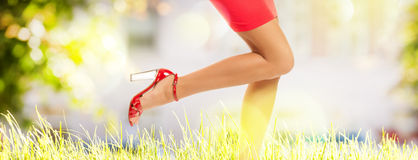 Long perfect female legs on grass Royalty Free Stock Image