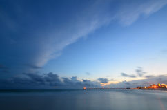 Long pier during twilight Royalty Free Stock Images
