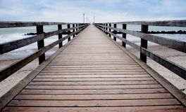 Long pier in wustrow germany royalty free stock image