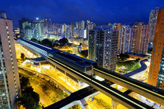 Long Ping, hong kong urban downtown at night Stock Photo