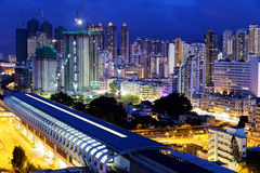 Long Ping, hong kong urban downtown at night Stock Photo