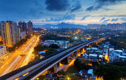 Long Ping, hong kong urban downtown at night Royalty Free Stock Image