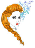 Long plait. Portrait of a beautiful red-haired girl with a plait Stock Image