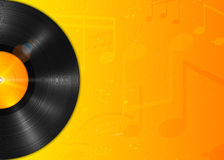 Long-playing LP vinyl record with yellow label. Music background Royalty Free Stock Photography