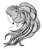 Long ponytail - line art Stock Photo