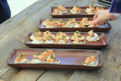 Long pottery trays with several types of homemade crackers and fresh cooked Salmon Stock Image