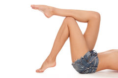 Long pretty woman legs. Royalty Free Stock Photo