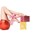 Long pretty woman legs with present boxes Royalty Free Stock Photos