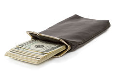 Long purse with a stack of dollars Royalty Free Stock Image