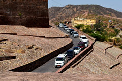 A long queue of cars waiting to pass through a tunnel Stock Image