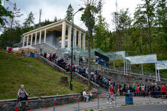 Long queue at Kasprowy cable car station stock photo