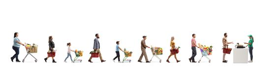 Free Long Queue Of People Waiting At The Cash Register In A Supermarket Royalty Free Stock Photography - 166890077