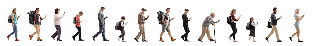 Free Long Queue Of People Walking And Using A Mobile Phone Royalty Free Stock Photo - 137318185
