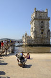 Long queue to go into the Belem Tower Royalty Free Stock Photo