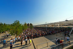 Long Queue of Visitors - Expo Milano 2015 Stock Photo