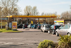 Long queues for fuel in the UK. TELFORD, UK-MARCH 29: Petrol queues, motorists face long queues and fuel shortages following a UNITE Union strike threat by royalty free stock photography