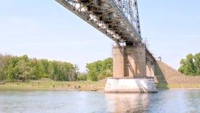 Long railway bridge. Railway bridge through the river Don stock video footage