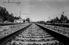 Long railway to the distance. stock photos