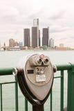 Long range binoculars on river bank. Old worn long range binoculars on river bank Stock Photography