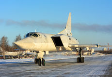 Long-range bombers Tu-22M `Backfire`  at the air base. Backfire - it is a long-range aircraft capable of performing nuclear strike, conventional attack, antiship Royalty Free Stock Photo