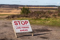 Stop Live firing ahead - sign stock images