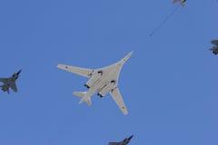 Long-range strategic bomber. Tu-160, long-range strategic bomber over blue sky (Blackjack Stock Images