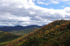 Long range view Blue Ridge Mountains in autumn. Scenic long range view of the Blue Ridge Mountains of southern Appalachia in the fall of the year Royalty Free Stock Photo
