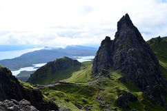 Long Reaching Views from Old Man of Storr. Views of sound of Rasaay from Old Man of Storr on the Isle of Skye Stock Image