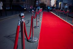 Long red carpet between rope barriers on entrance. Entry. red carpet is traditionally used to mark the route taken by heads of state on ceremonial and formal stock photos