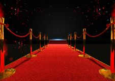 Long red carpet between rope barriers royalty free illustration