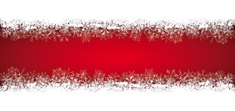Long Red Christmas Card Double Snow Banner Royalty Free Stock Photography