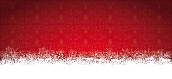 Long Red Christmas Card Snowflakes Stock Photography