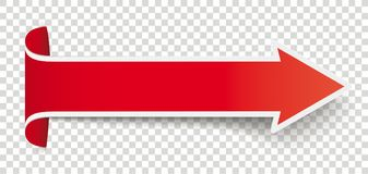 Long Red Convert Arrow. Long red arrow on the checked background Stock Image