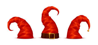 Long red dwarf  hats vector set in cartoon style Royalty Free Stock Image