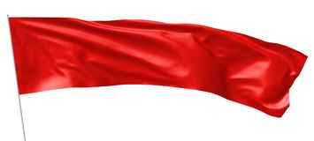 Long red flag on flagpole flying in wind Stock Image