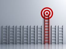 Long red ladder to goal target. On white wall background with shadows . 3D rendering Stock Images