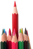 Long red pencil stock image