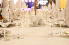Long restaurant table Stock Photography