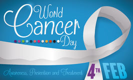 Long Ribbon, Some Colors and Reminder of World Cancer Day, Vector Illustration Royalty Free Stock Image
