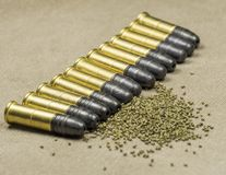 Long rifle Rimfire Ammunition Royalty Free Stock Photography