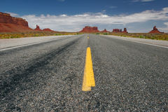 Long road. Empty road in Monument Valley, Arizona, USA Royalty Free Stock Photography