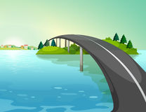 A long road above the river vector illustration