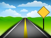 Long Road With Blank Yellow Sign Royalty Free Stock Images
