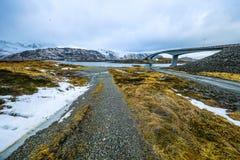 Long road bridge. Beautiful Norway landscape. Lofoten islands. Royalty Free Stock Photo