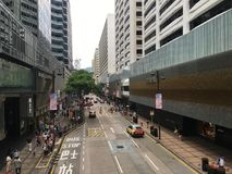 Long Road with Cars in the City. This place is somewhere in Hong Kong Stock Image
