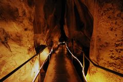 Long Road in a cave stock photography