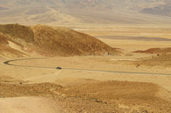 Long road through the desert (Death Valley) Royalty Free Stock Photo