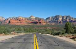 The long road from Flagstaff to Sedona Arizona. Royalty Free Stock Images