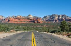 The long road from Flagstaff to Sedona Arizona. The view from the road leading to Sedona from Flagstaff Arizona Royalty Free Stock Images
