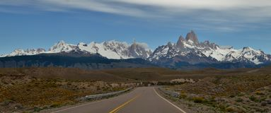LONG ROAD,GLACIER AND GLOBAL WARMING PERITO MORENO IN EL CALAFATE PATAGONIA ARGENTINA.  Stock Photos